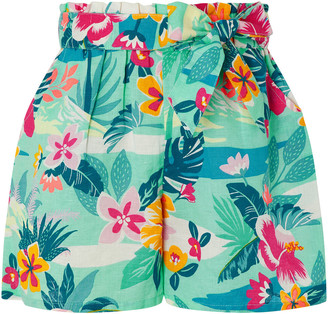 Under Armour Petunia Floral Shorts in Linen and Organic Cotton Green