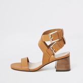 River Island Light brown double buckle block heel sandals