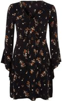 River Island Womens Black floral knot panel front jersey dress