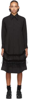 Comme des Garcons Black Ruffle Detail Shirt Dress