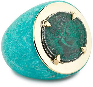Dubini Emperor 18k Amazonite Coin Ring, Size 6
