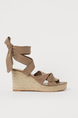 H&M Wedge-heeled Sandals - Beige