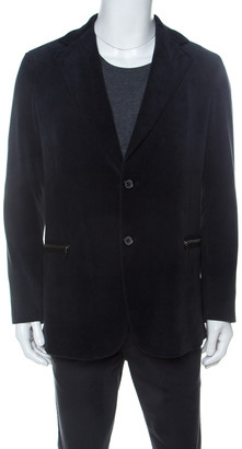 Armani Collezioni Navy Blue Corduroy Zipper Pocket Detail Blazer M