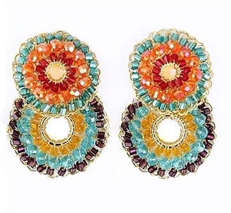 Lavish By Tricia Milaneze Multicolored Hand Made Crochet Small Double Hoops Earrings