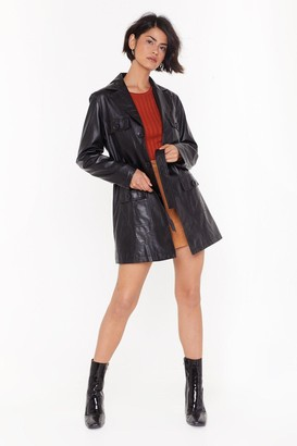 Nasty Gal Womens You're Faux Leather Fully Dressed Belted Jacket - Black