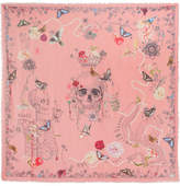 Alexander McQueen Frayed Printed Modal And Wool-blend Scarf - Pink