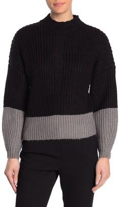 Elodie K Colorblock Mock Neck Sweater