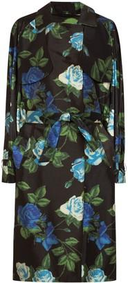 Richard Quinn Floral Print Satin Trench Coat