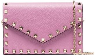 Valentino pink Garavani Rockstud leather envelope clutch bag