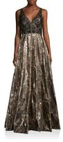 Badgley Mischka V-Back Metallic Brocade Gown