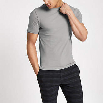 River Island Grey muscle fit crew neck T-shirt