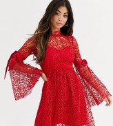 Sisters Of The Tribe high neck dress in lace with ribbon sleeve ties