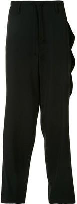Yohji Yamamoto One-Sided Zip Detail Loose Trousers