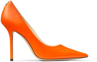 Jimmy Choo LOVE 100 Neon-Orange Patent Leather Pointed Pumps with JC Emblem