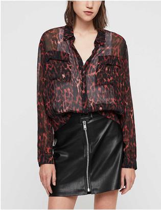 AllSaints Adeliza leopard print woven shirt
