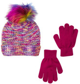 Capelli of New York Spacedye Faux Fur Pompom Beanie & Glove Set