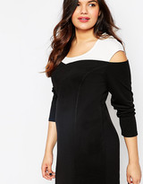 Junarose Long Sleeve Bodycon Dress With Contrast Shoulder
