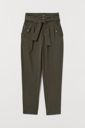 H&M Twill Paper-bag Pants - Green