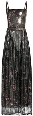 Paco Rabanne Printed Floral Metallic Mesh Midi Dress