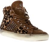 Leather Crown leopard print hi-top trainer