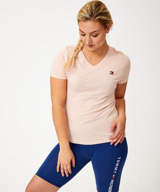 Tommy Hilfiger Women's Tee Shirts BSH_BLUSH - Blush Embroidered-Logo V-Neck Tee - Women