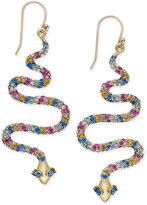 Kate Spade 14k Gold-Plated Colored Crystal Snake Drop Earrings