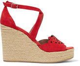 Tabitha Simmons Clem Laser-Cut Suede Wedge Sandals