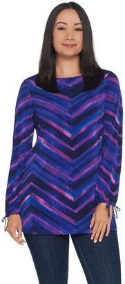 Susan Graver Printed Liquid Knit Tunic with Tie Sleeves