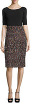 Escada Sparkle Tweed Half-Sleeve Dress, Black/Multi