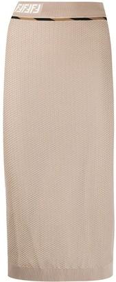 Fendi FF motif woven mesh skirt