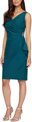 Alex Evenings Women's Slimming Short Ruched Dress with Ruffle Skirt
