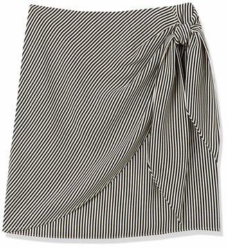ABS by Allen Schwartz Women's Draped Pinstrip Skirt with Side Knot & Zipper Back Either for Work or Cusual