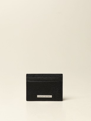 Armani Exchange Credit Card Holder In Textured Leather