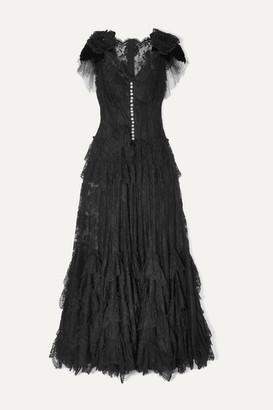 Dolce & Gabbana Appliqued Embellished Lace Gown - Black