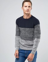 Celio Crew Neck Knitted Jumper With Black Stripe
