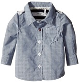Ikks Button Up Shirt with Striped Knit Jersey Back (Infant/Toddler)