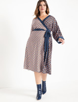 ELOQUII Dropped Shoulder Kimono Wrap Dress