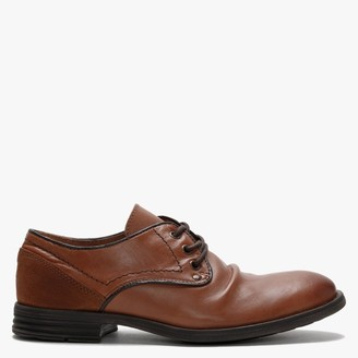 Daniel Prentishoe Tan Leather Ruched Lace Up Shoes