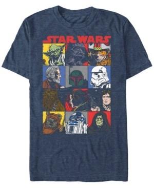 Star Wars Men's Classic Comic Character Squares Short Sleeve T-Shirt