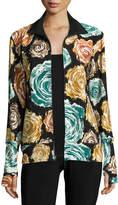 Norma Kamali Floral-Print Turtleneck Zip-Front Jacket, Painter Roses