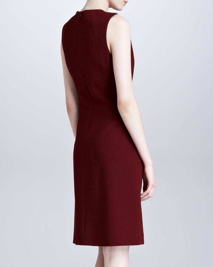 Derek Lam Sleeveless Square-Neck Dress, Bordeaux