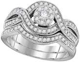 TheJewelryMaster 10kt White Gold Womens Round Diamond Milgrain Twist Bridal Wedding Engagement Ring Band Set 1/2 Cttw