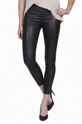 Helmut Lang Cropped Zipped Leather Pants Black