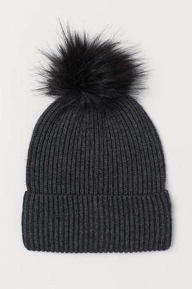 H&M Knit Wool-blend Hat - Gray