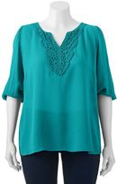 Wrapper Juniors' Plus Size Crochet-Neck Top