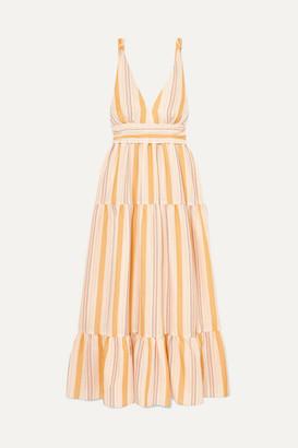 Lemlem Net Sustain Zeritu Belted Striped Cotton-blend Gauze Maxi Dress - Yellow