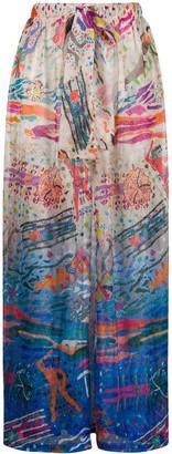 Missoni Mare Beach-Print Wide Leg Knit Trousers