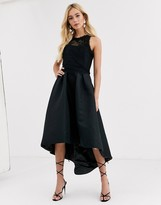 Chi Chi London high low satin dress in black