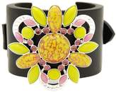 Moutton Collet Bohemian Crystal Round Stone, Ebony Wood, Suede Leather, Silver Metal Plated Cuff of 24cm