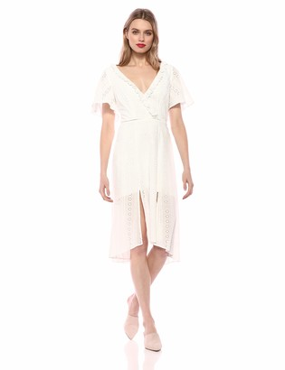 Finders Keepers findersKEEPERS Women's Sundays Short Sleeve LACE Ruffle Aline MIDI Dress